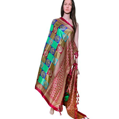 Majesty Pink-Multi Colored Festive Wear Printed Khadi Silk Dupatta