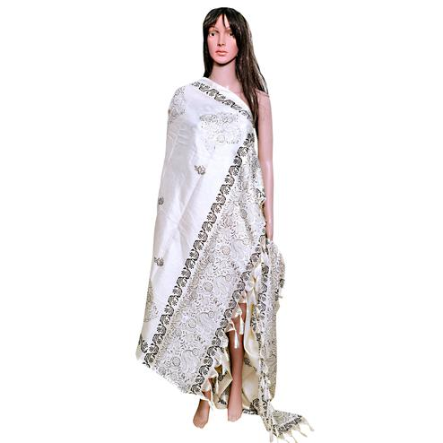 Impressive White Colored Festive Wear Printed Khadi Silk Dupatta