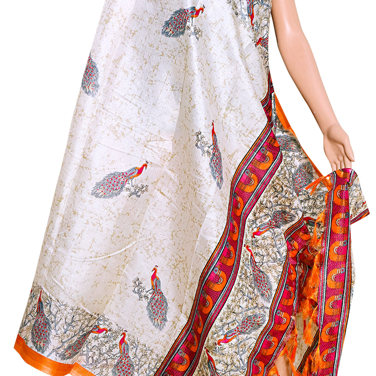 Mesmerising White-Orange Colored Festive Wear Printed Khadi Silk Dupatta