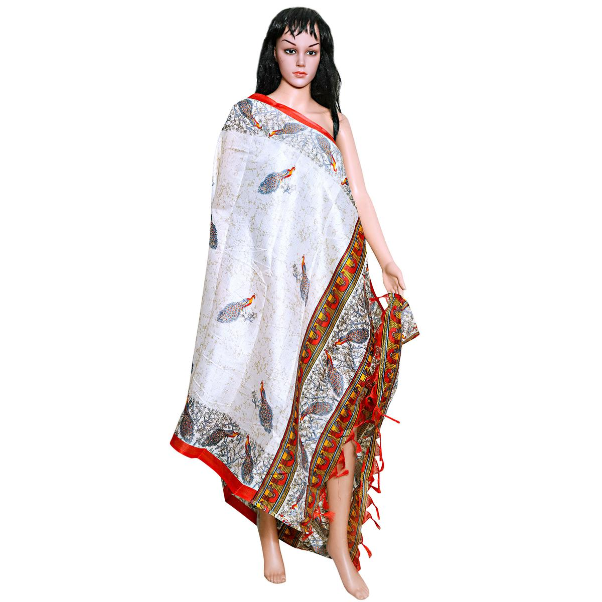 Ethnic White-Red Colored Festive Wear Printed Khadi Silk Dupatta