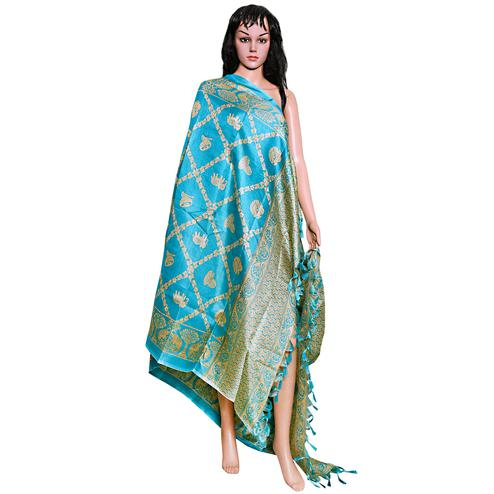 Ravishing Blue Colored Festive Wear Printed Khadi Silk Dupatta