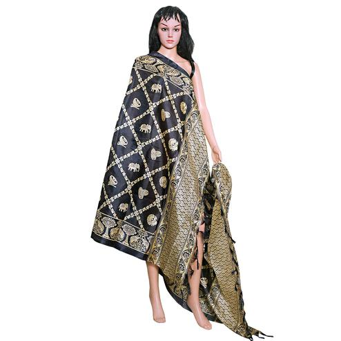 Staring Black Colored Festive Wear Printed Khadi Silk Dupatta