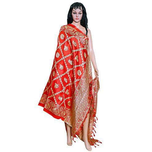 Dazzling Red Colored Festive Wear Printed Khadi Silk Dupatta