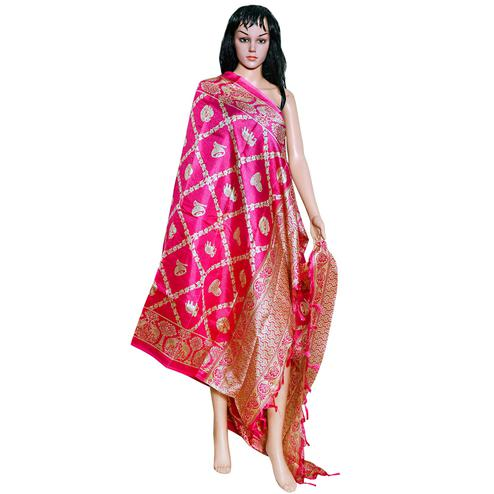 Surpassing Pink Colored Festive Wear Printed Khadi Silk Dupatta