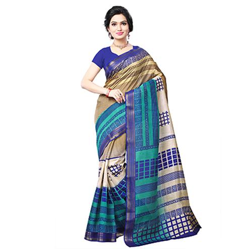 Multicolored Geometrical Print Cotton Saree