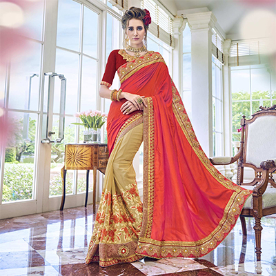 Trendy Beige - Orange Embroidered Georgette Saree