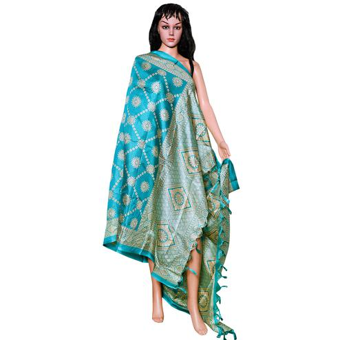 Intricate Blue Colored Festive Wear Printed Khadi Silk Dupatta