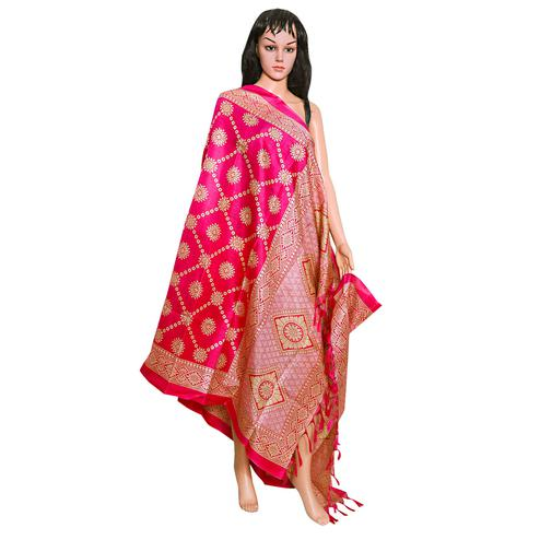 Arresting Pink Colored Festive Wear Printed Khadi Silk Dupatta
