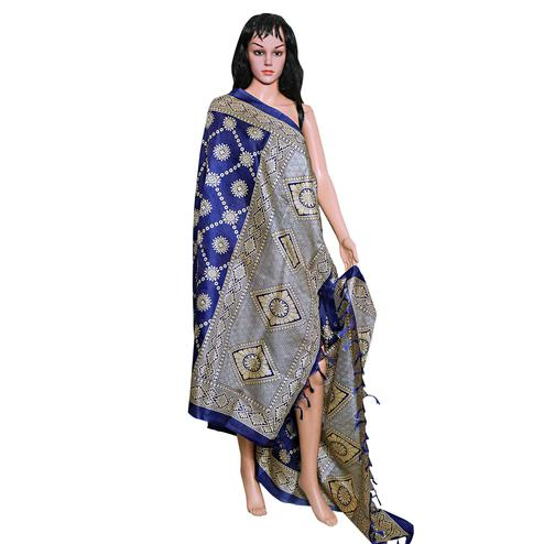 Exotic Navy Blue Colored Festive Wear Printed Khadi Silk Dupatta