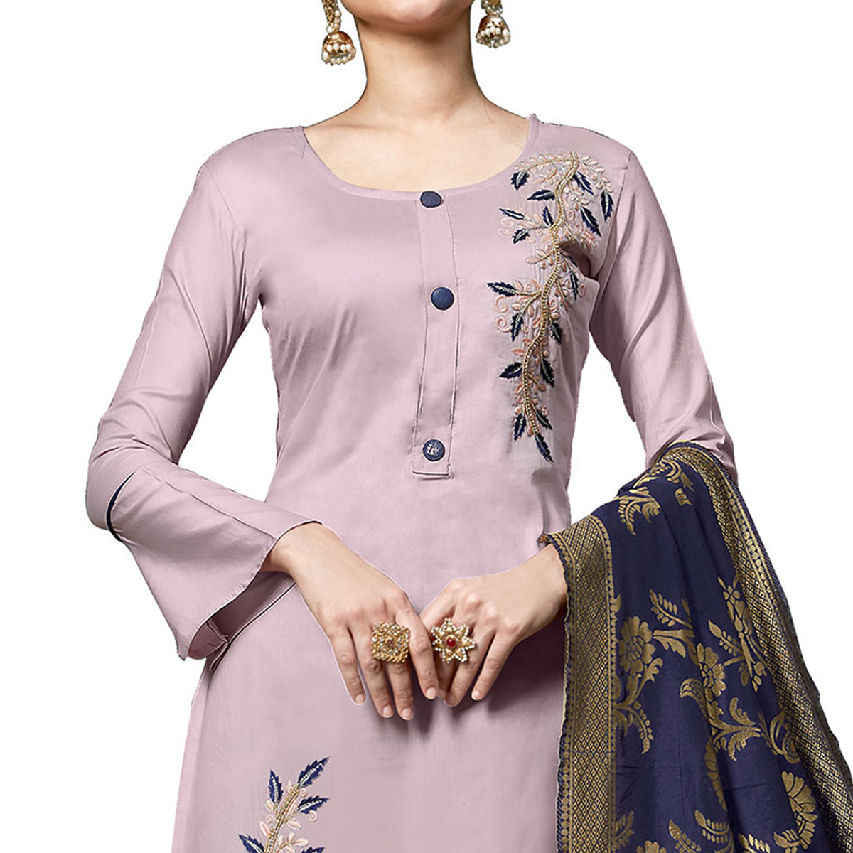 Glowing Pastel Lavender Colored Partywear Embroidered Cotton Dress Material