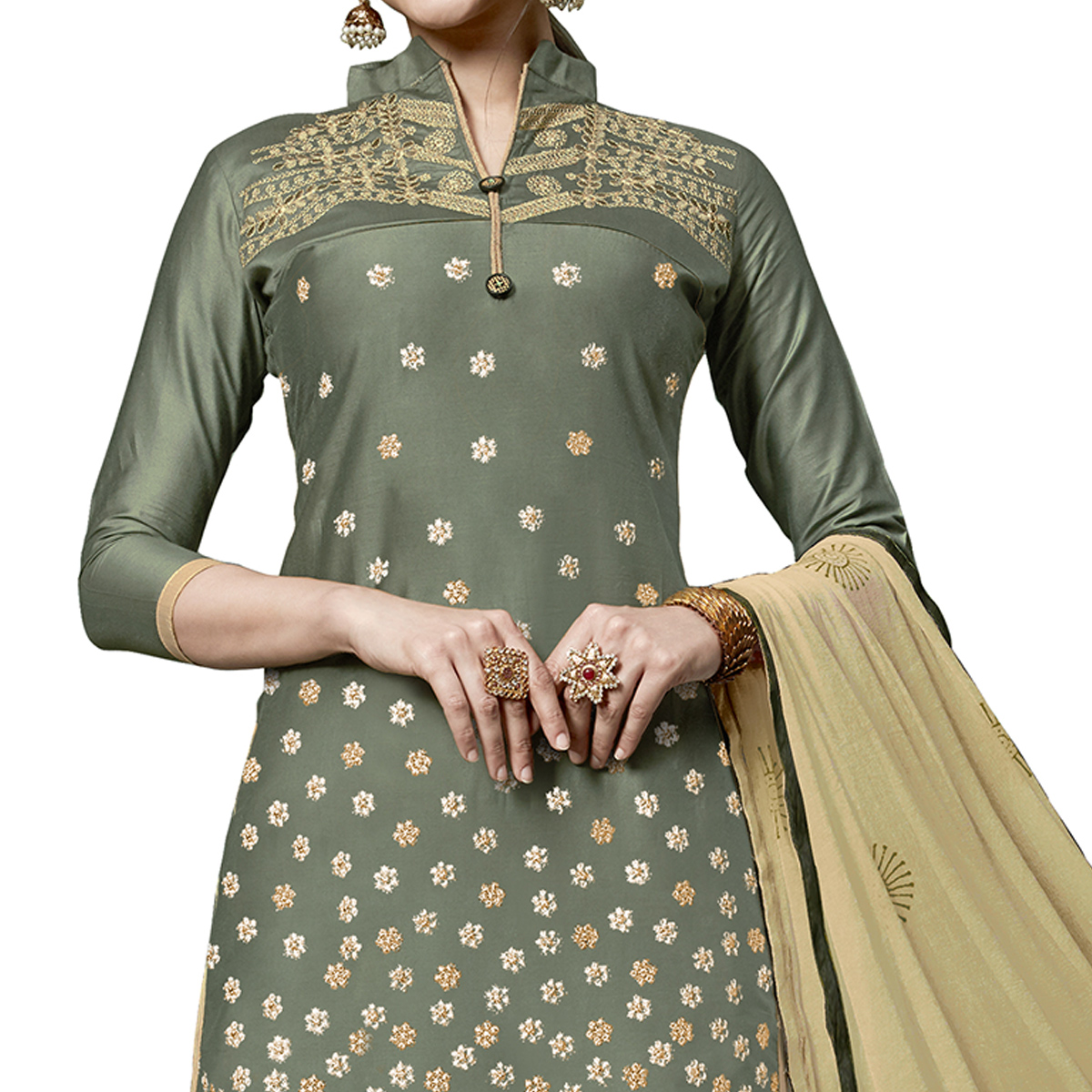 Exceptional Olive Green Colored Partywear Embroidered Cotton Dress Material