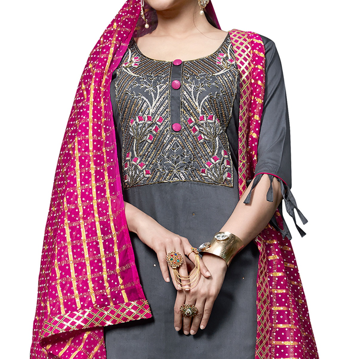 Gleaming Gray Colored Partywear Embroidered Cotton Dress Material