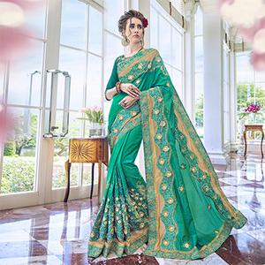 Gorgeous Green Heavy Embroidered Georgette Saree