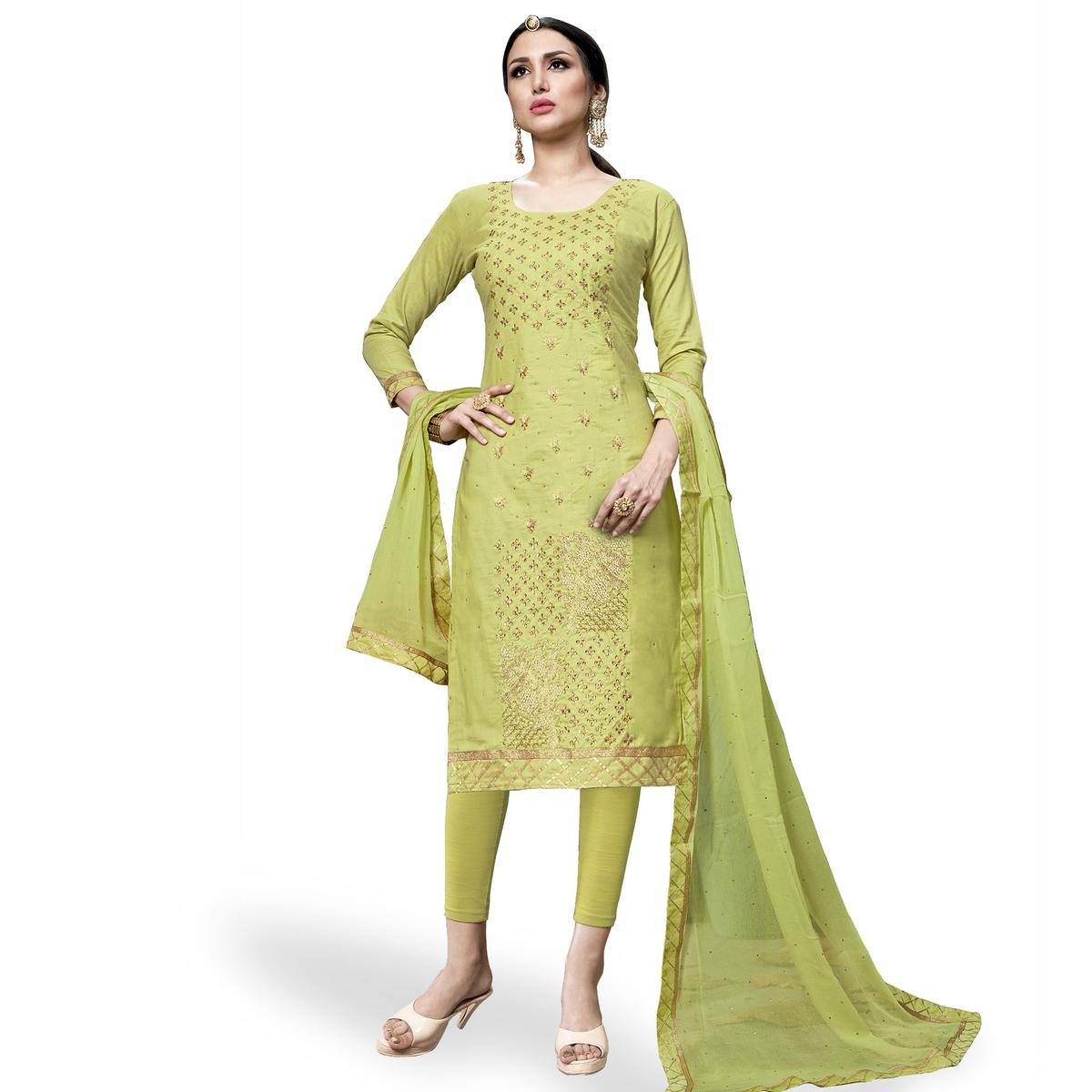 0ea427971d Buy Magnetic Lemon Green Colored Partywear Embroidered Cotton Dress Material  for womens online India, Best Prices, Reviews - Peachmode
