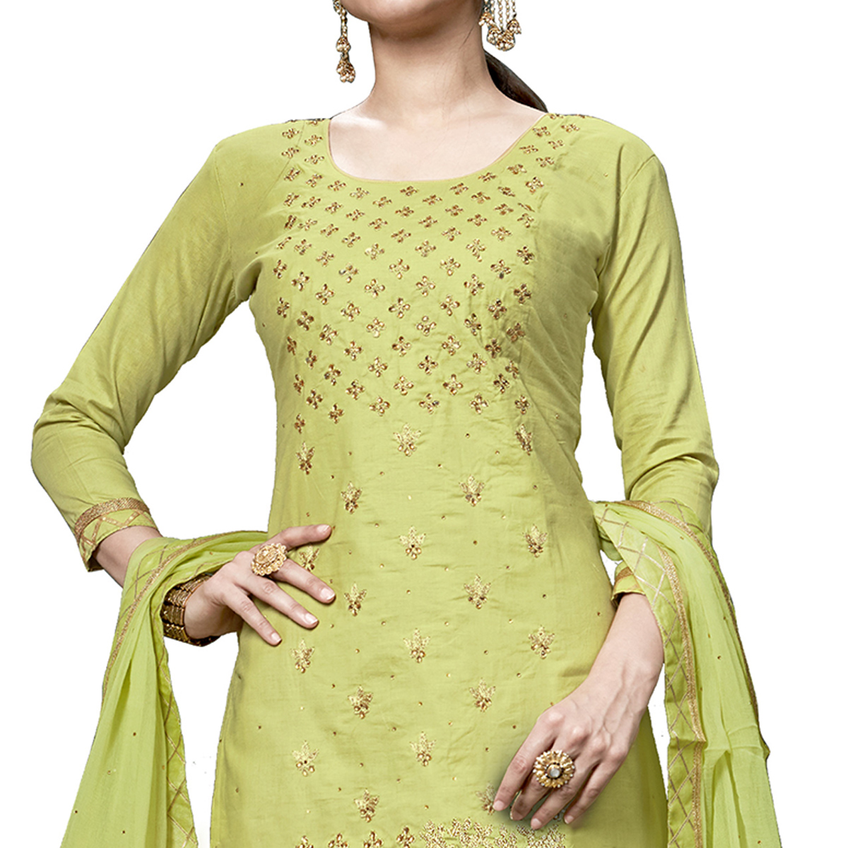 Magnetic Lemon Green Colored Partywear Embroidered Cotton Dress Material