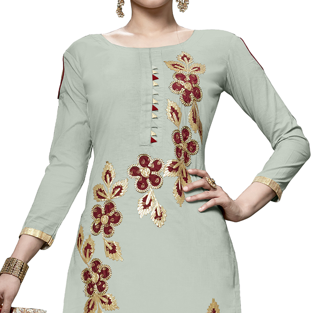 Hypnotic Light Green Colored Partywear Embroidered Cotton Dress Material