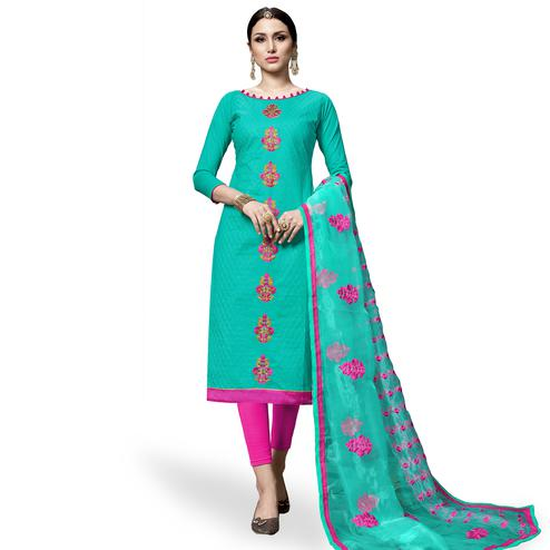 Majesty Aqua Green Colored Partywear Embroidered Cotton Dress Material