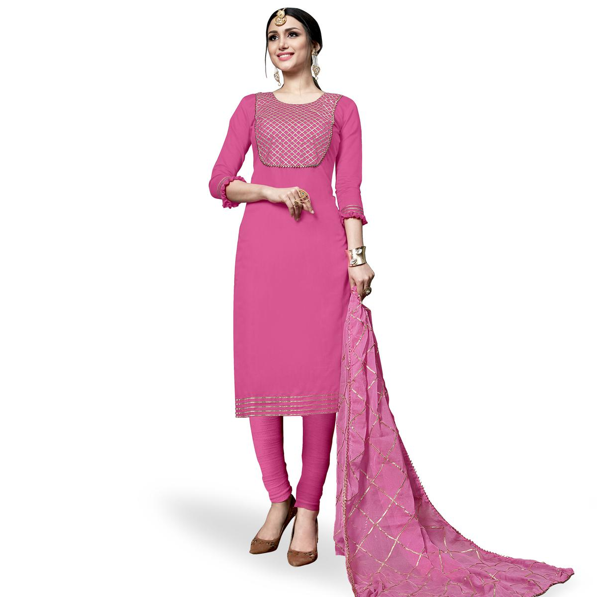 Impressive Pink Colored Partywear Embroidered Cotton Dress Material