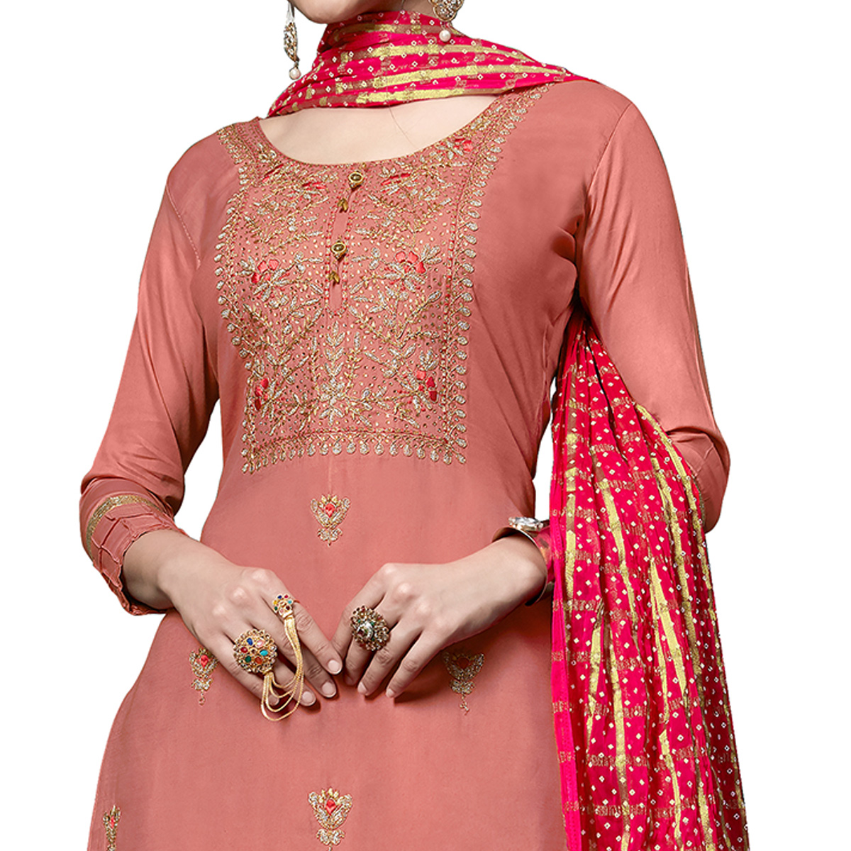 Mesmerising Pink Colored Partywear Embroidered Cotton Dress Material