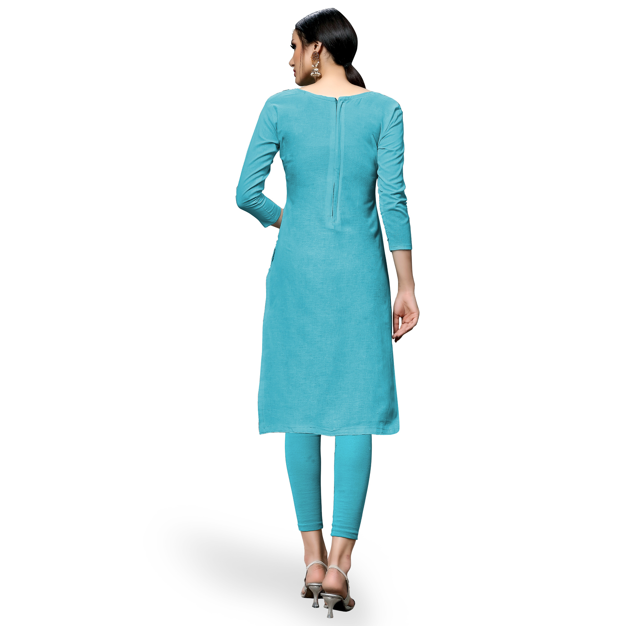 Pleasance Sky Blue Colored Partywear Embroidered Cotton Dress Material