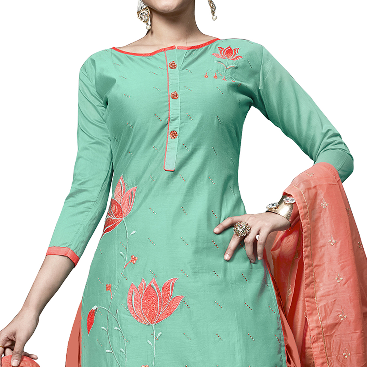 Ethnic Turquoise Green Colored Partywear Embroidered Cotton Dress Material