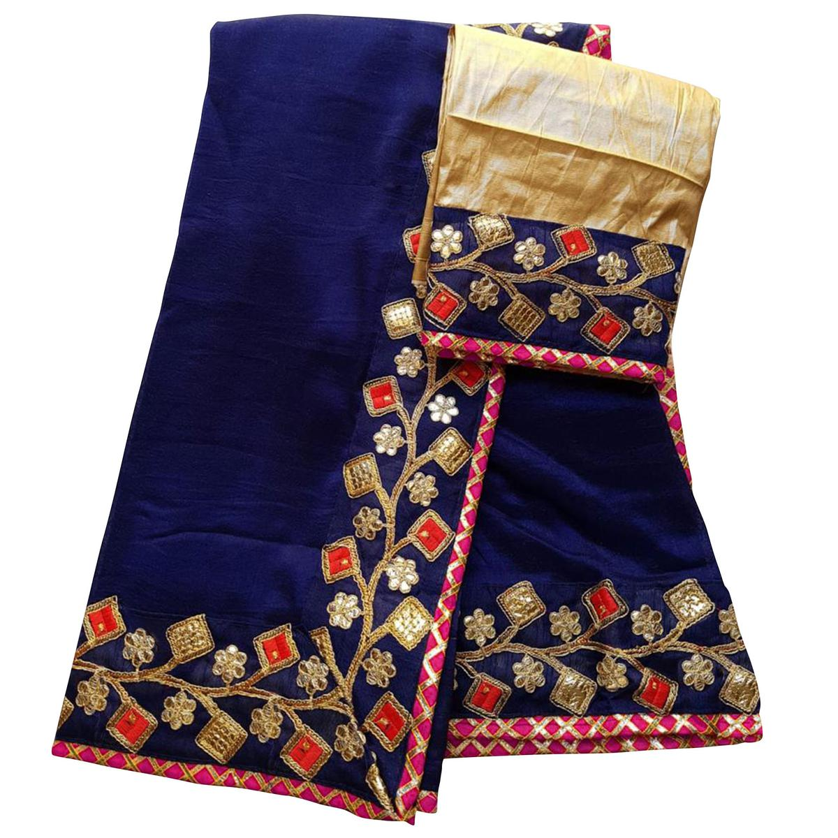Magnetic Navy Blue Colored Partywear Embroidered Art Silk Saree