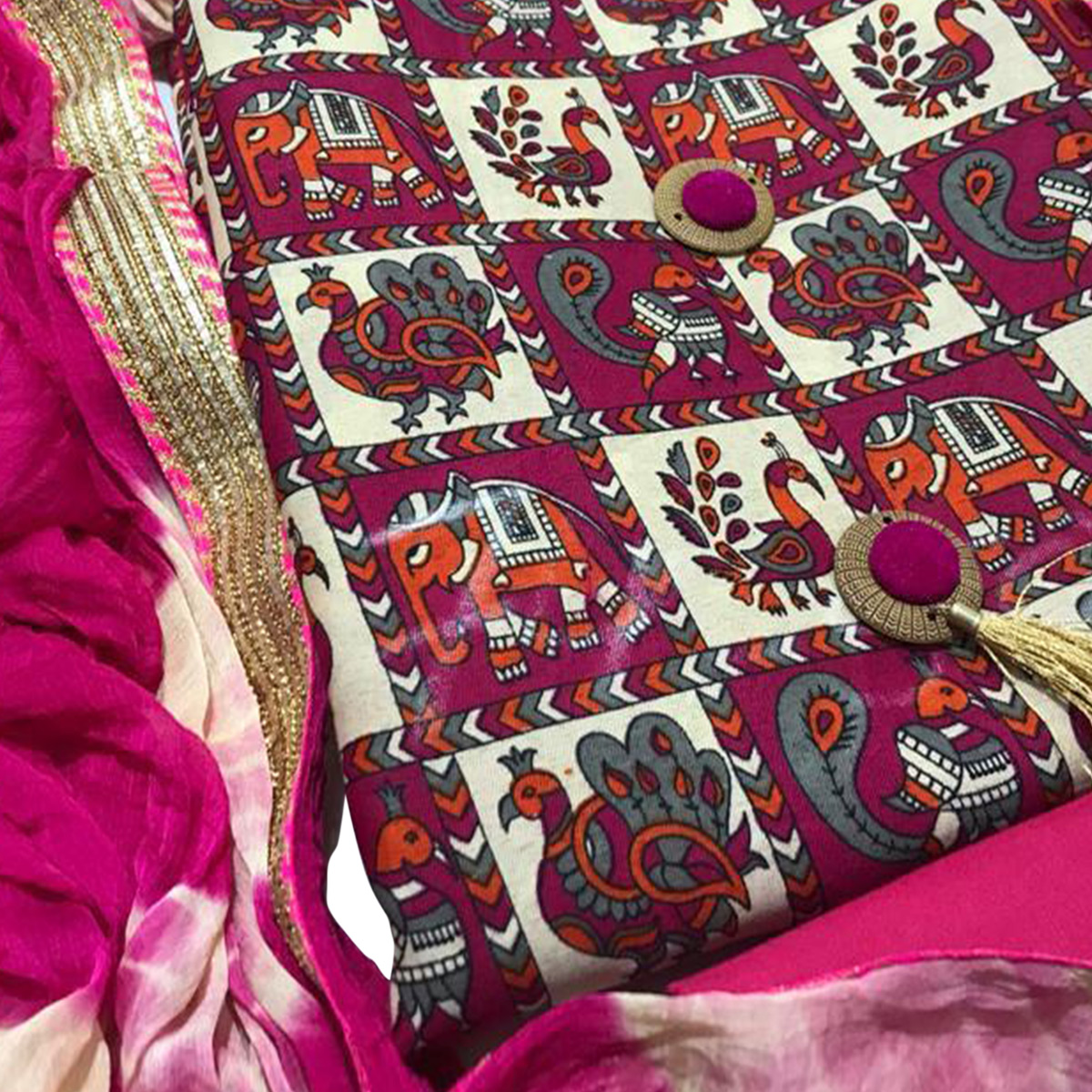 Hypnotic Pink Colored Casual Printed Cotton Dress Material