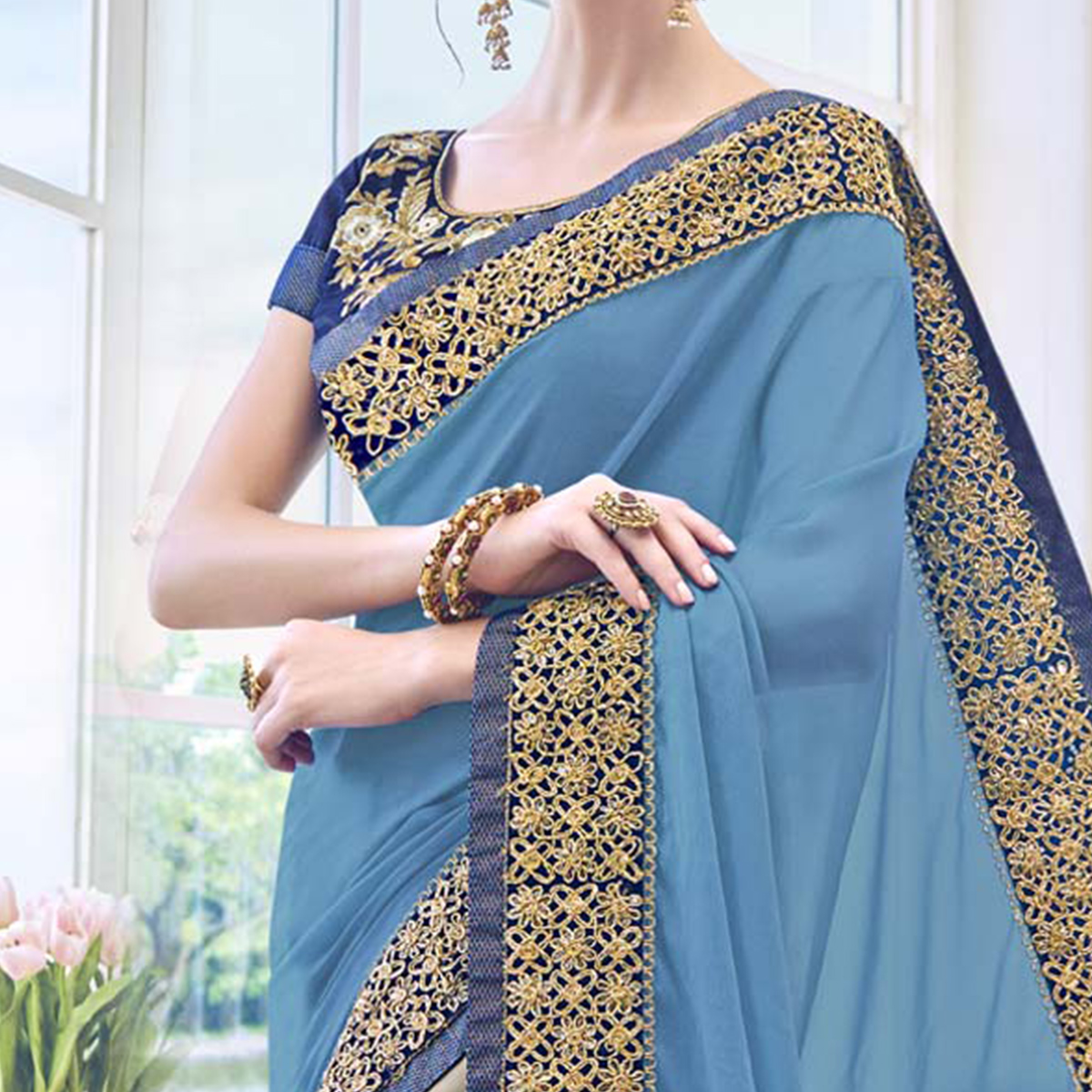 Adorable Blue - Grey Floral Embroidered Georgette Saree