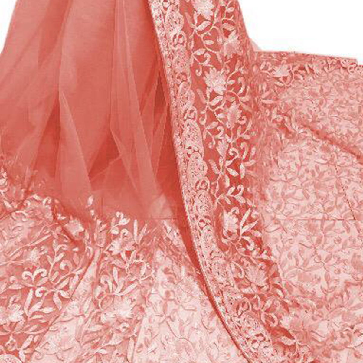 Preferable Peach Colored Partywear Embroidered Net Saree