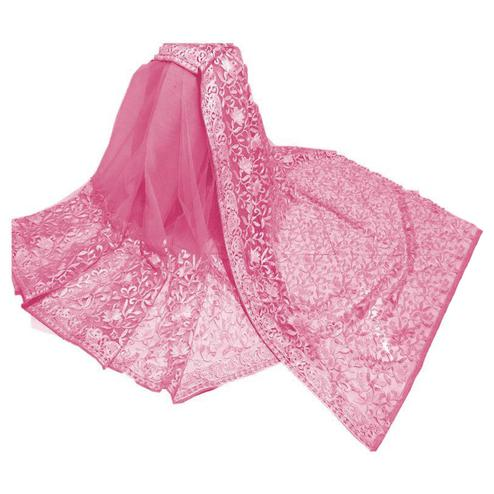 Marvellous Pink Colored Partywear Embroidered Net Saree
