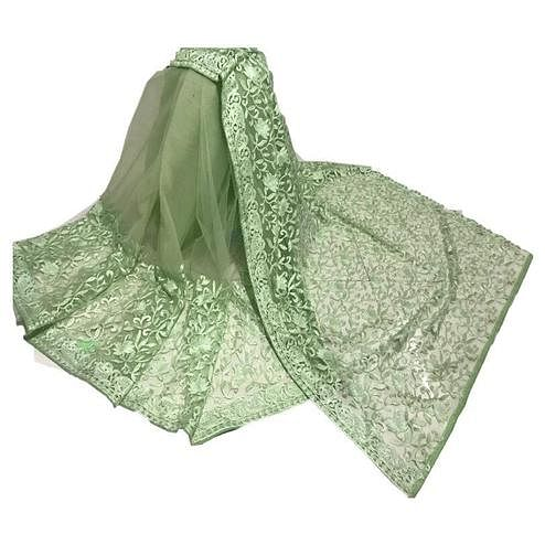 Flamboyant Green Colored Partywear Embroidered Net Saree
