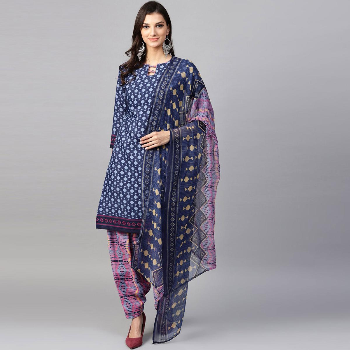 Jazzy Navy Blue Colored Casual Printed Cotton Dress Material
