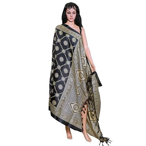 Trendy Black Colored Festive Wear Printed Khadi Silk Dupatta