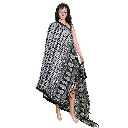 Elegant White-Black Colored Festive Wear Printed Khadi Silk Dupatta