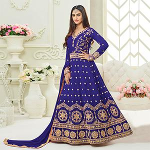 Royal Blue Embroidered Banglori Silk Anarkali