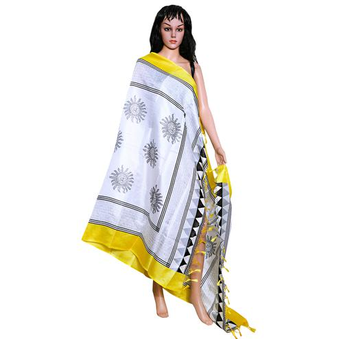 Hypnotic White Colored Festive Wear Printed Khadi Silk Dupatta