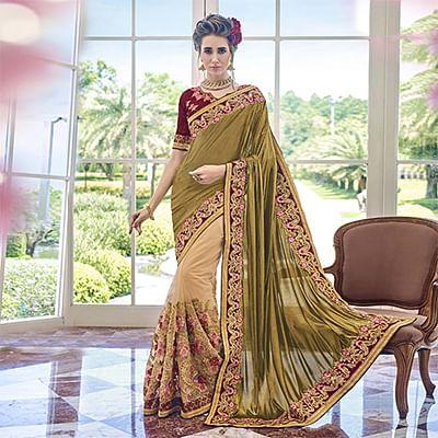 Classy Olive Green - Beige Embroidered Georgette Saree