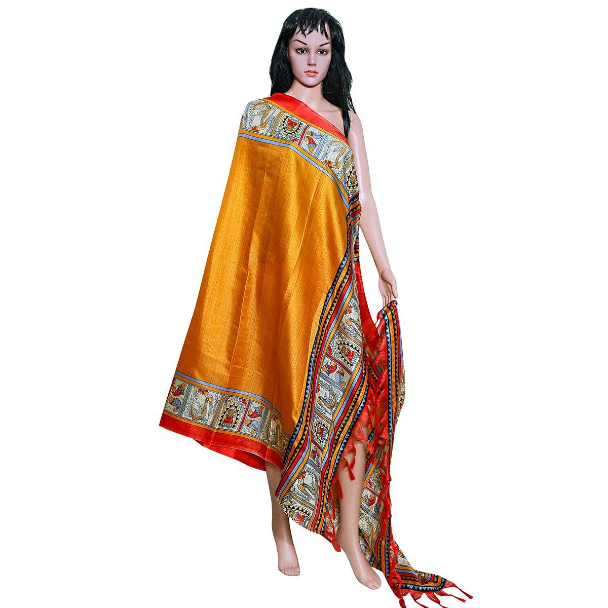 Flamboyant Yellow Colored Festive Wear Printed Khadi Silk Dupatta