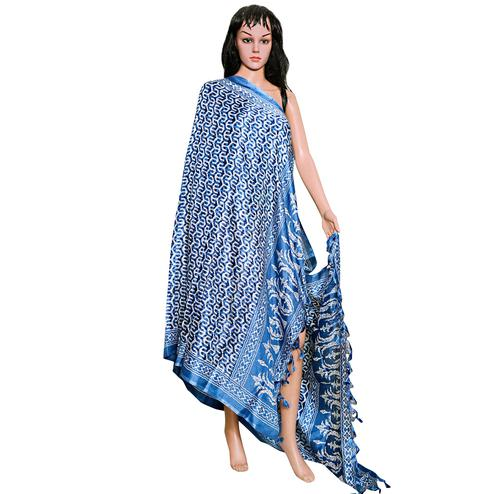 Alluring Blue Colored Festive Wear Printed Khadi Silk Dupatta