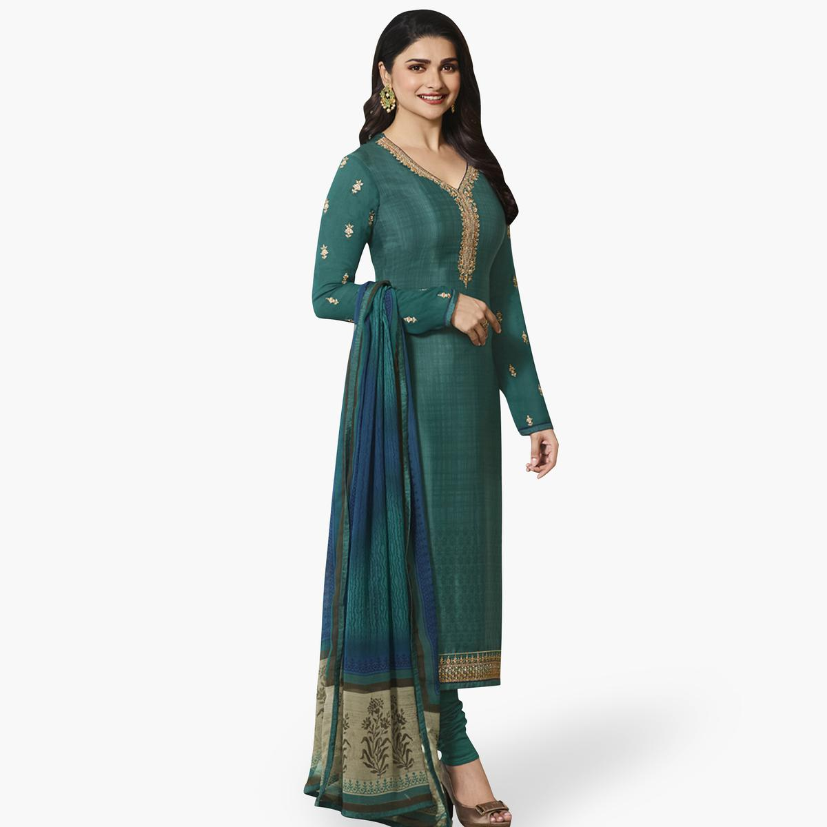 Intricate Rama Green Colored Partywear Embroidered Crepe Suit
