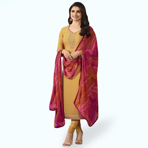 Arresting Yellow Colored Partywear Embroidered Crepe Suit