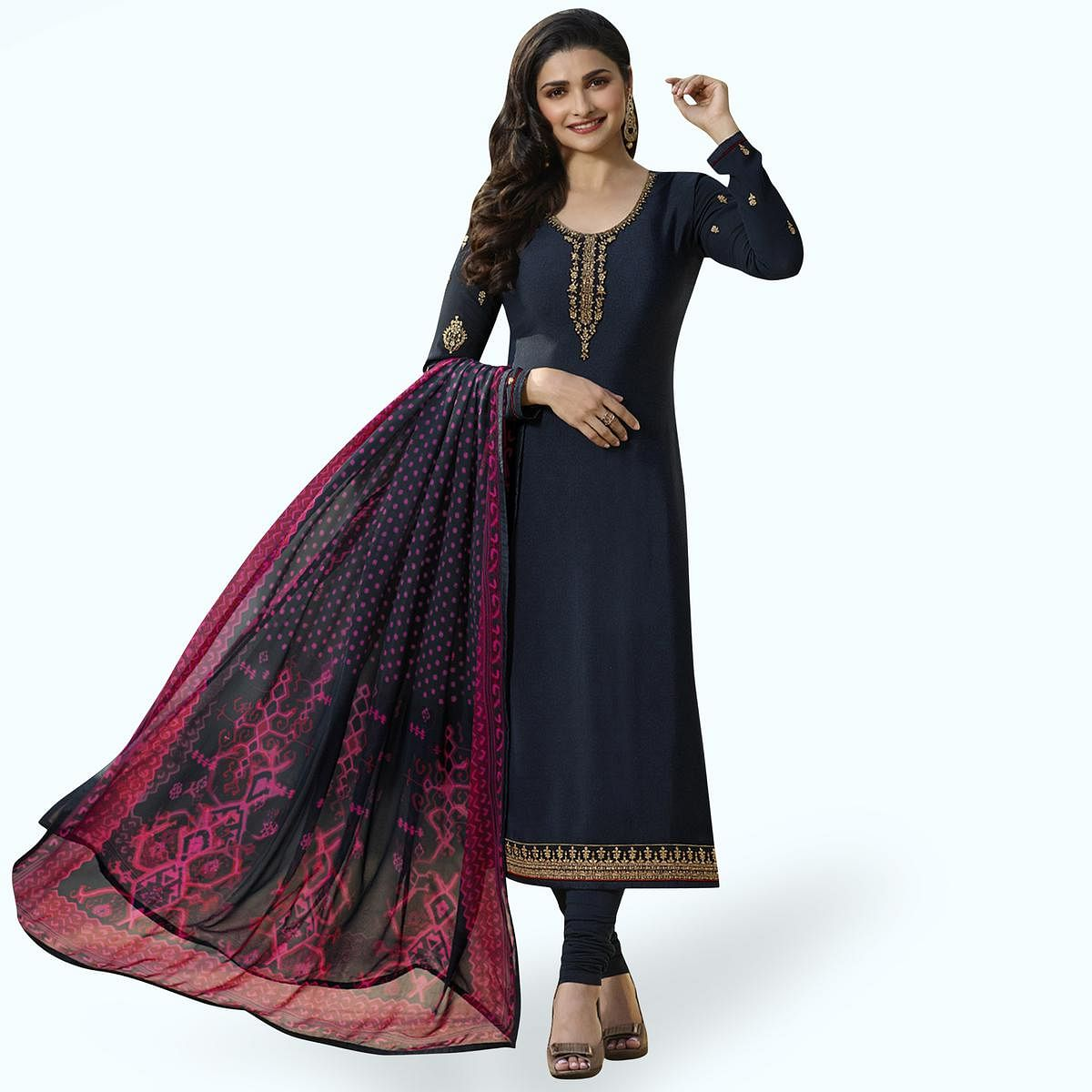 Desirable Navy Blue Colored Partywear Embroidered Crepe Suit