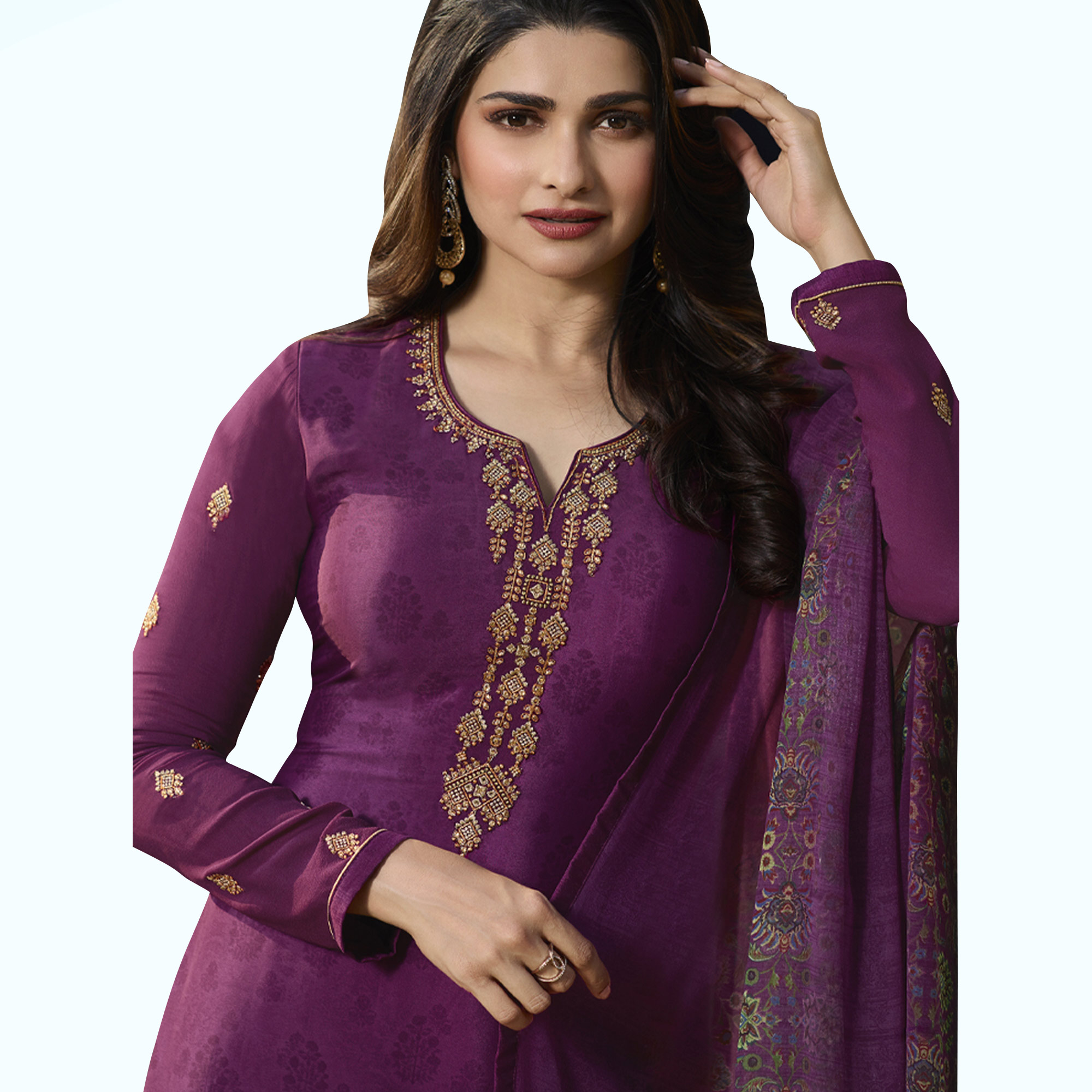 Exotic Purple Colored Partywear Embroidered Crepe Suit