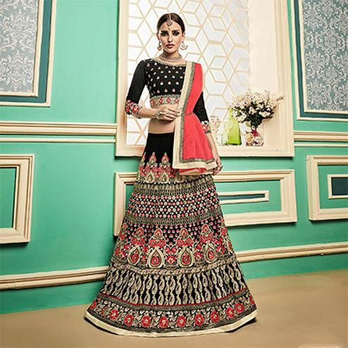 Arresting Black Heavy Floral Embroidered Designer Lehenga