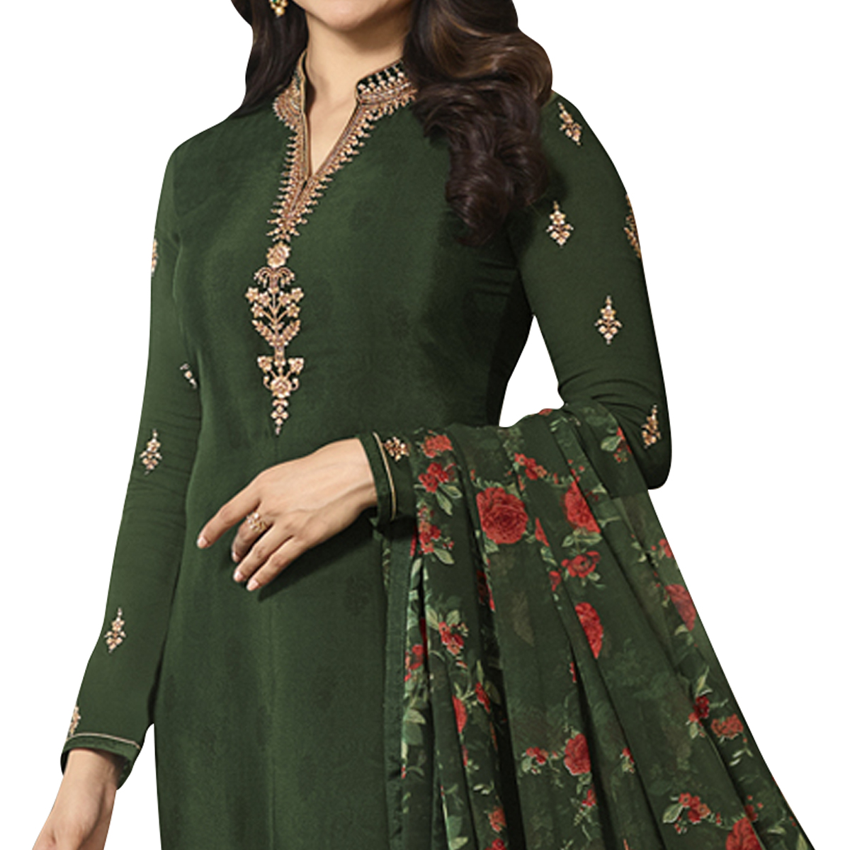 Trendy Dark Green Colored Partywear Embroidered Crepe Suit