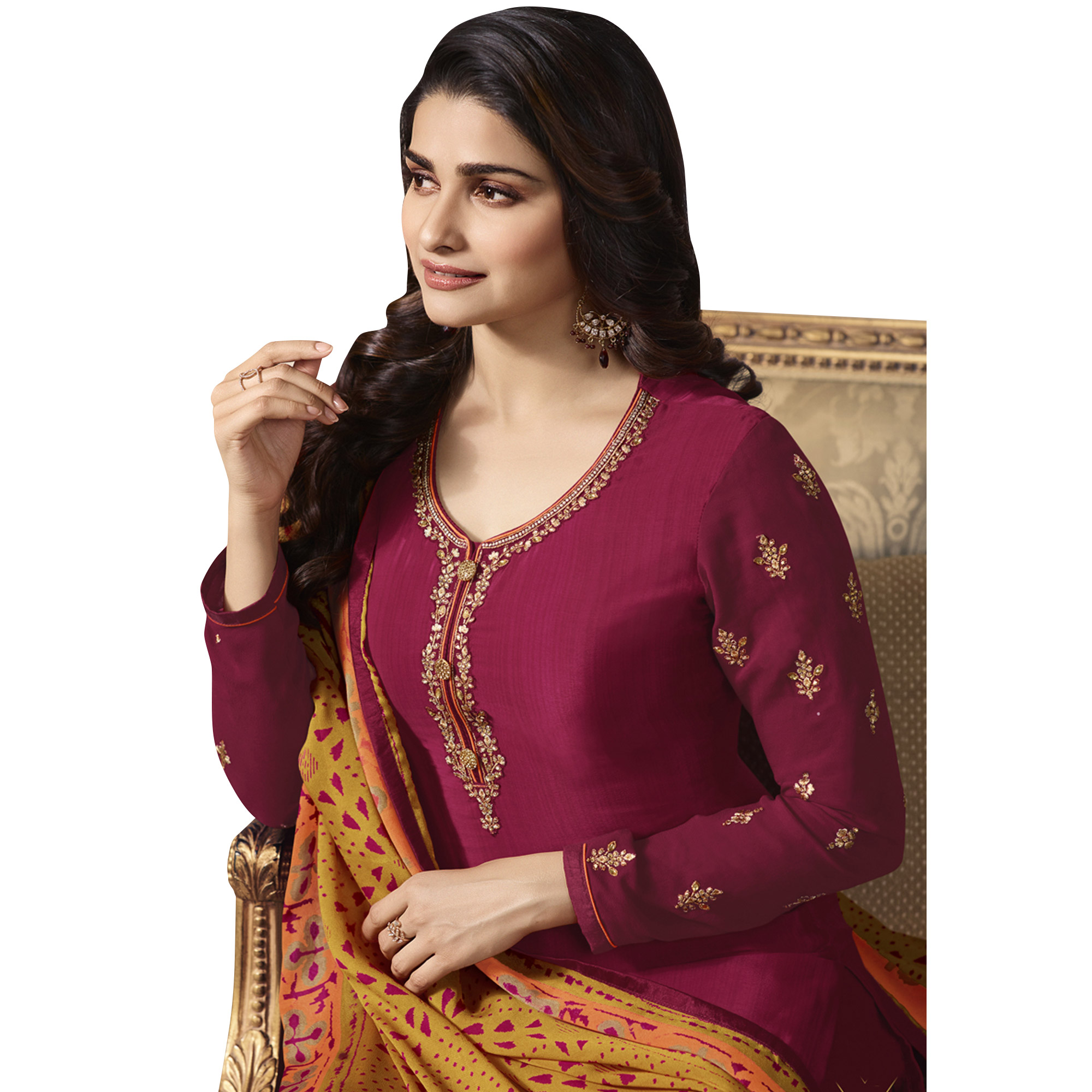 Elegant Magenta Pink Colored Partywear Embroidered Crepe Suit