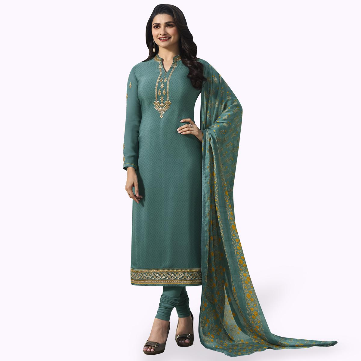 Radiant Teal Gray Colored Partywear Embroidered Crepe Suit