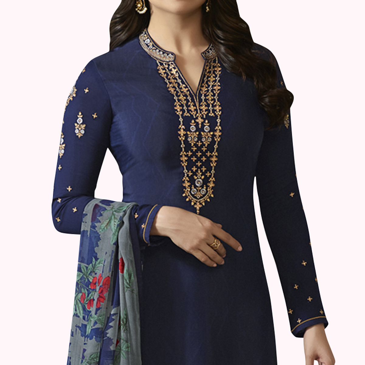 Innovative Navy Blue Colored Partywear Embroidered Crepe Suit