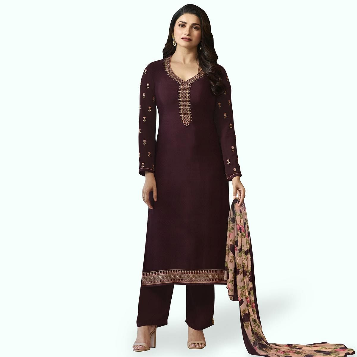 Pleasant Dark Wine Colored Partywear Embroidered Crepe Suit