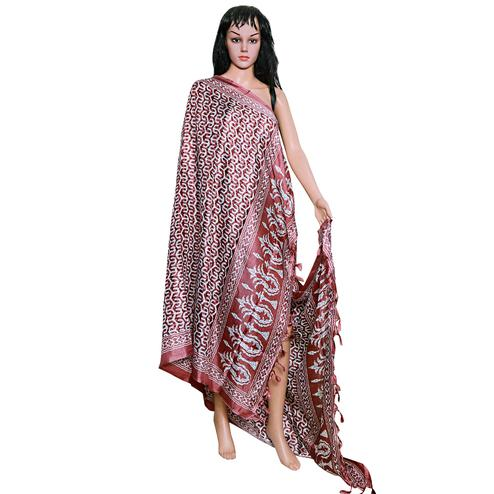 Flaunt Mauve Colored Festive Wear Printed Khadi Silk Dupatta